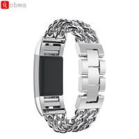 Replacement Bands For Fitbit Charge 2 Stainless Steel Double Chains Style Bracelet Band Metal Watch Bands
