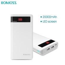 Romoss 감각 6 p 20000 mah 힘 은행 led 전시를 가진 휴대용 외부 건전지 iphonex samsung s8 iosx를위한 이중 usb 빠른 충전기