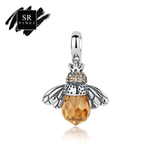 SR:FINEJ Fashion New 925 Sterling Silver Orange Wing Animal Bee Pendants fit Bracelet Necklace for Women Accessories(China)