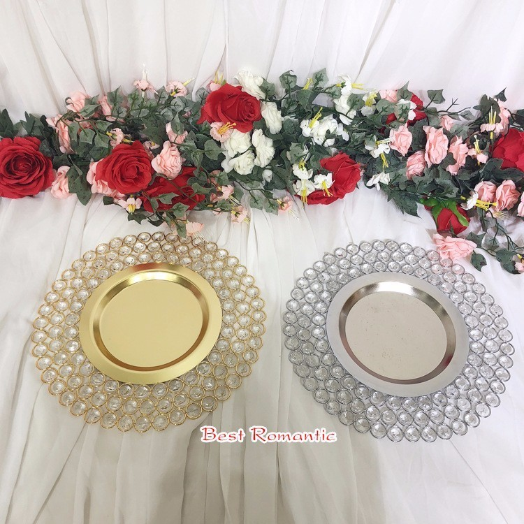 10pcs/lot  Gold/Silver Crystal Metal Charger Dishes/Plates With 3 Layers Beaded For Wedding Table Home Decoration