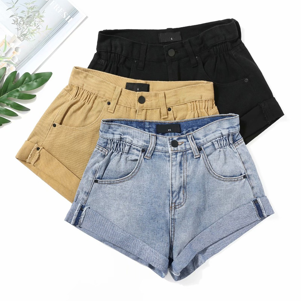 Summer 2019 ripped women solid color curled   shorts   casual denim sexy high waist hip denim hot   shorts   denim   shorts   for women