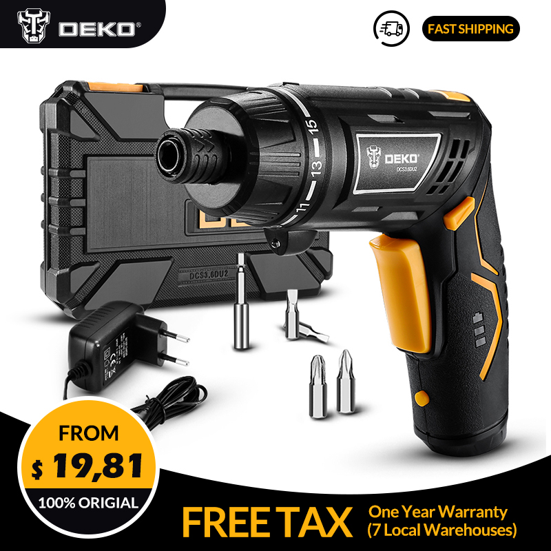 DEKO DCS3.6DU2 Cordless Electric Screwdriver Household Rechargeable Battery Screwdriver With  LED Torch