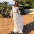 2016 Bohemia Lace Beach Two Piece Wedding Dress Sexy Scoop Neck Long Flare Sleeve Vestido De Noiva Romantic White Boho Bridal