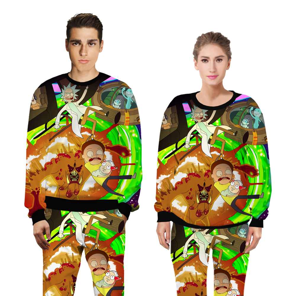 PLstar Cosmos brand Rick and Morty fashion sweats tracksuit men women casual clother 3d Sweatshirt&pants 2 pieces set size S-XXL