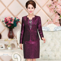High Quality 2017 Free Shipping New Middle Aged Mom Set Autumn Wedding Purple Long Sleeved Plus