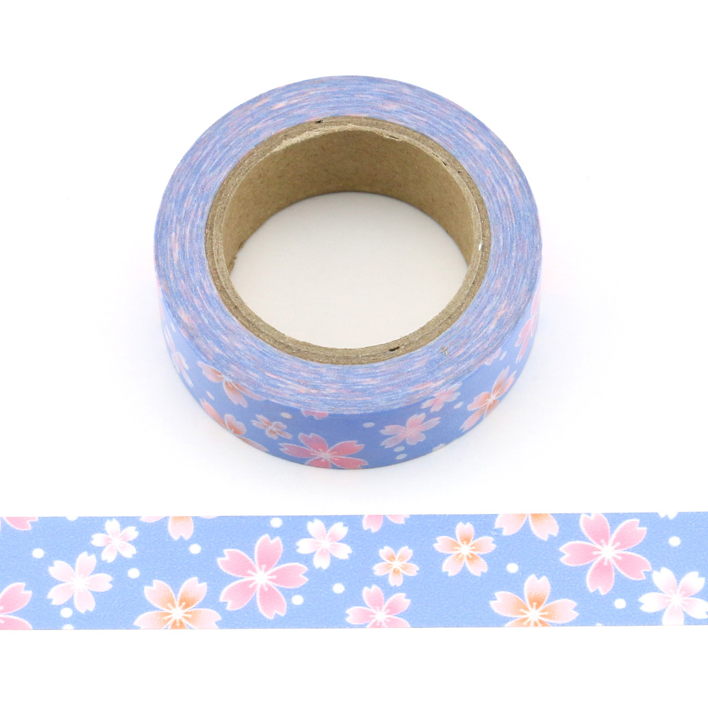1pc Beautiful Pink petal flower on Blue Decorative Washi Tape Paper DIY Scrapbooking Adhesive Tape 10m School Office Supply in Office Adhesive Tape from Office School Supplies