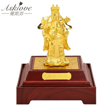 Asklove Feng shui God of wealth 24K Gold foil ornaments Gold Figurine Bonsai Lucky Office Gifts Home decoration accessories цена