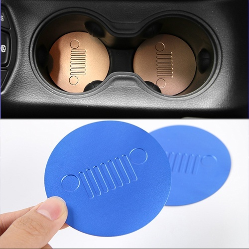 Image 5 - 2pcs Front Cup Water Holder Buttom Cover Trim Alloy Cup Pad For Jeep Compass 2017-in Car Anti-dirty Pad from Automobiles & Motorcycles