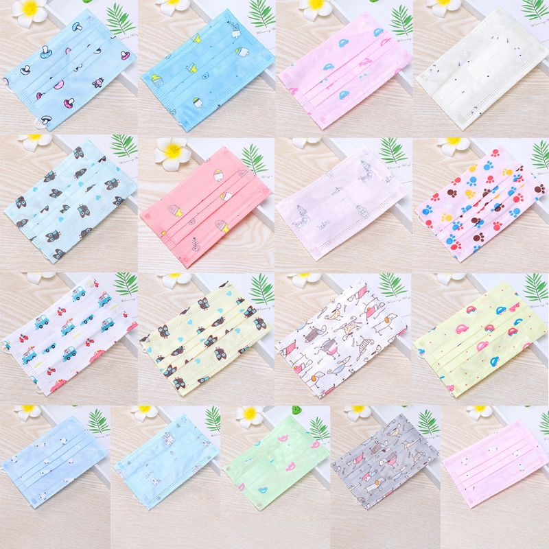 10Pcs Children Kids Disposable Dustproof Mouth Mask 3 Layers Non-Woven Cute Cartoon Animal Car Printed Earloop Respirator Cover