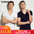 THREEGUN 2Pcs-Pack Cotton Undershirts Short Sleeve bodysuit Fitness Breathable Inner Undershirts close-fitting Relax Strench