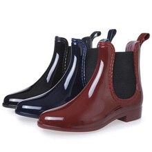 春の女性の足首ファッションショートブーツガール Rainboots チェルシーブーツ秋防水靴女性靴アンチスキッド靴 Mujer Bota Ş