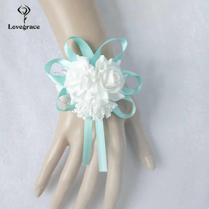 Lovegrace Gelang Gelang Busa Mawar Putih Pergelangan Tangan Bunga untuk Bridesmaid Gelang Pernikahan Aksesoris Tangan Bridal Bunga