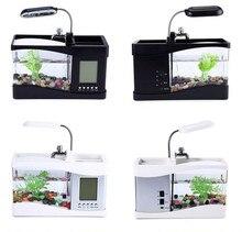 USB Mini Aquarium Fish Tank Desktop Electronic Fish Tank Decoration With Water Running LED Pump Light