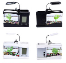 USB Mini Aquarium Fish Tank Desktop Electronic Fish Tank Decoration With Water Running LED Pump Light Calendar Clock White&black