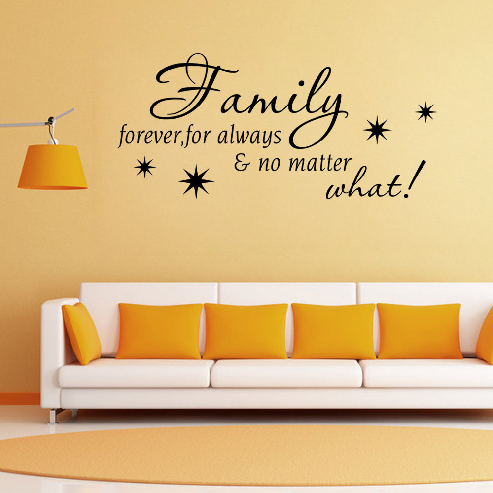 black Family Letter Quote wall stikers office living room decoration ...