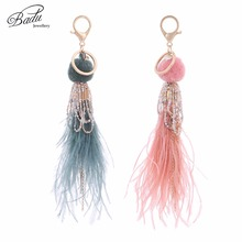 Badu Ostrich Feather Key Chains Gold Lobster Clasp 3 Colors Pompom Pendant Lovely Cute Bag Chain Bohemian Jewelry Wholesale