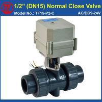 UPVC DN15 Normal Close Valve AC DC 12V 24V 2 Wires TF15 P2 C BSP NPT