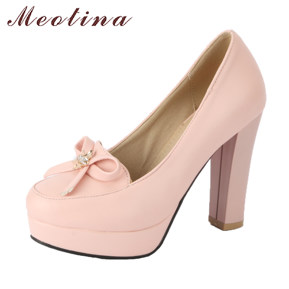 Meotina Women Platform Pumps Shoes High Heels Party Shoes Spring 2018 Bow-knot Crystal Thick High Heel Shoes Female Plus Size 43 meotina high heels shoes women wedding shoes platform high heel pumps ankle strap bow spring 2018 shoes white pink big size 43