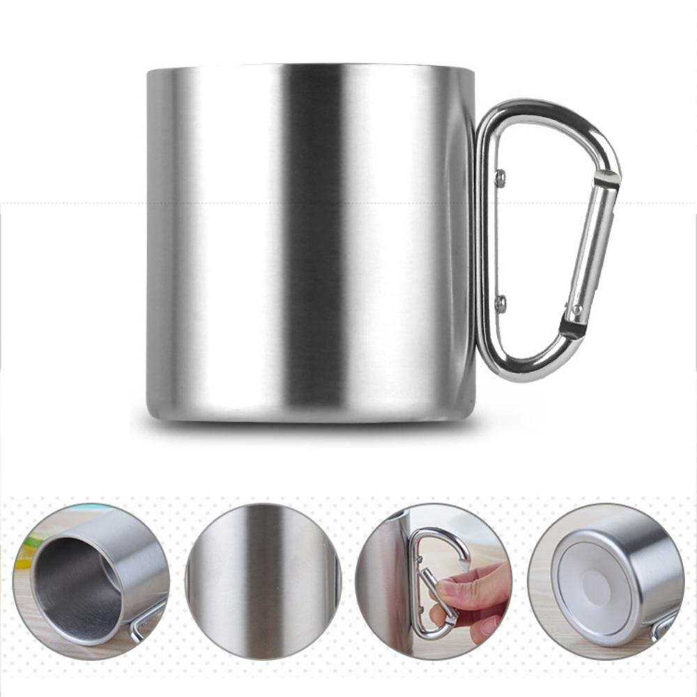 Image 3 - 220/300/350/450ml Stainless Steel Cup Portable Camping Traveling Outdoor Cup Double Wall Mug With Carabiner Hook Handle-in Outdoor Tablewares from Sports & Entertainment