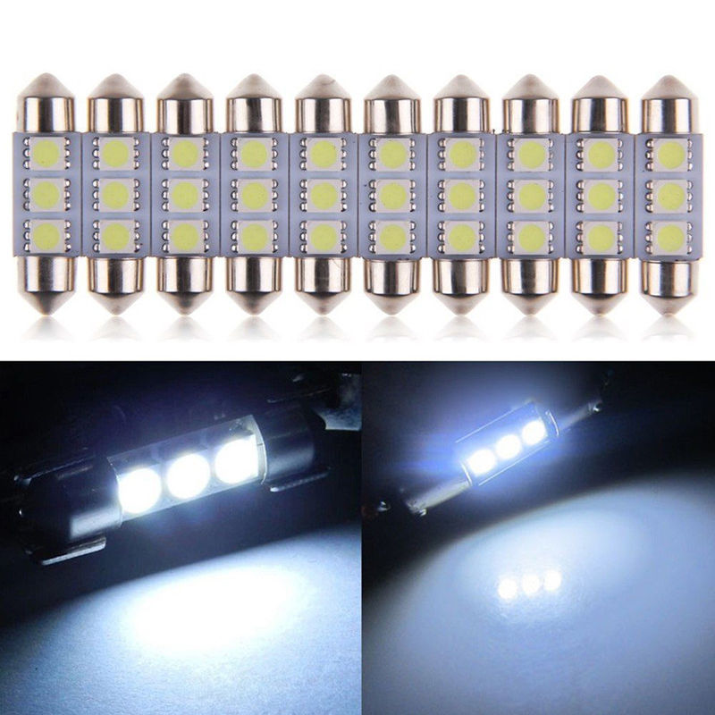 10pcs 36mm 3 LED 5050 SMD C5W 6418 CANBUS Error Free Dome Light Lamp Bulb White источник света для авто eco fri led canbus c5w 36 3 smd de3423 6418 3led 12v bmw audi benz