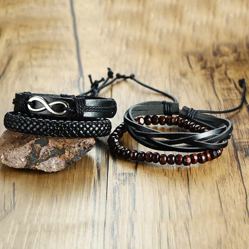 Mostyle 4 шт./компл. wrap Браслеты для мужчин и женщин черные шнуры деревянные бусины этнический Племенной браслет кожаные наручные браслеты