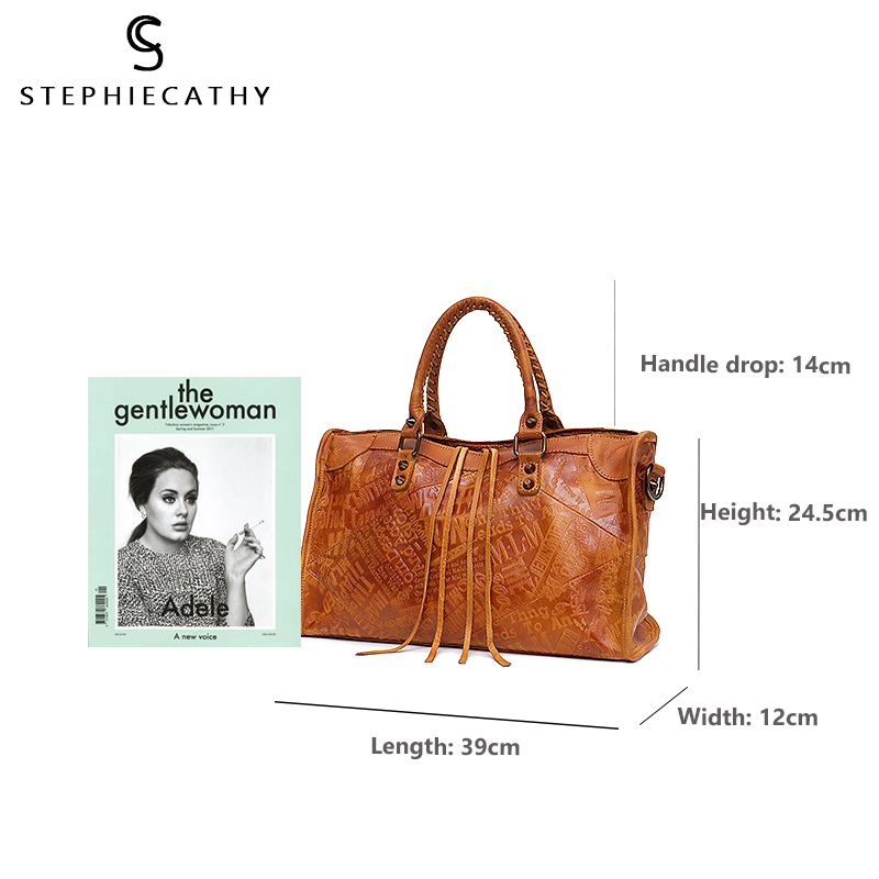 Image 4 - SC Large Women Leather Bags Female Retro Vintage Italian Leather Shoulder Tote Bag for Girls Large Capacity Luxury Designer-in Shoulder Bags from Luggage & Bags