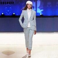 Top quality 2109 new fashion women suits runway designer suits Pants Suit jacket +Long Trousers Button set ladies two piece sets