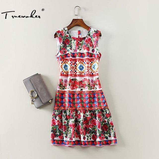 Truevoker Summer Designer Dress Womens High Quality Sleeveless