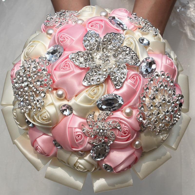 Fashion Wedding Bouquet Satin Ribbon Hand Holding Flowers Wedding Bouquet High Quality Diamond Flowers Bridal Bouquet W2295