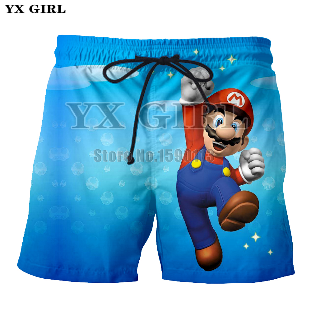 YX GIRL summer Cartoon style Super Mario new Mens shorts Print 3d shorts Plus size S-5XL ...