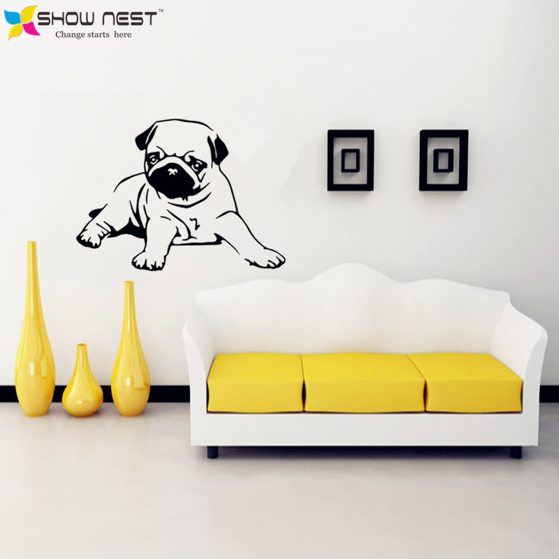 Free Shipping Cute Pug Dog Wall Stickers Home Decor Dog Vinyl Wall ...