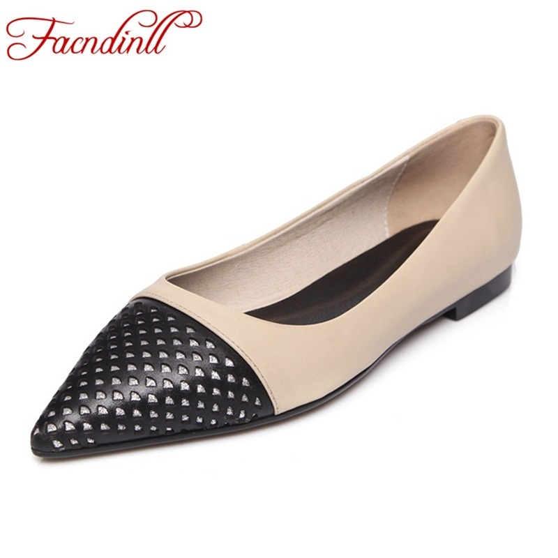 genuine leather flats new 2018 classic cut-outs women casual shoes spring autumn women flats fashion pointed toe shoes woman 2017 summer new women fashion leather nurse teacher flats moccasins comfortable woman shoes cut outs leisure flat woman casual s