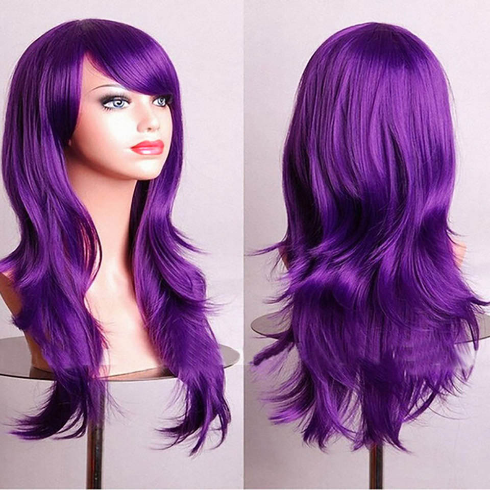 DIFEI 26 65cm Long Wavy Women Hair Wig Cosplay Costume Party Full Wigs Pink Red Orange S ...