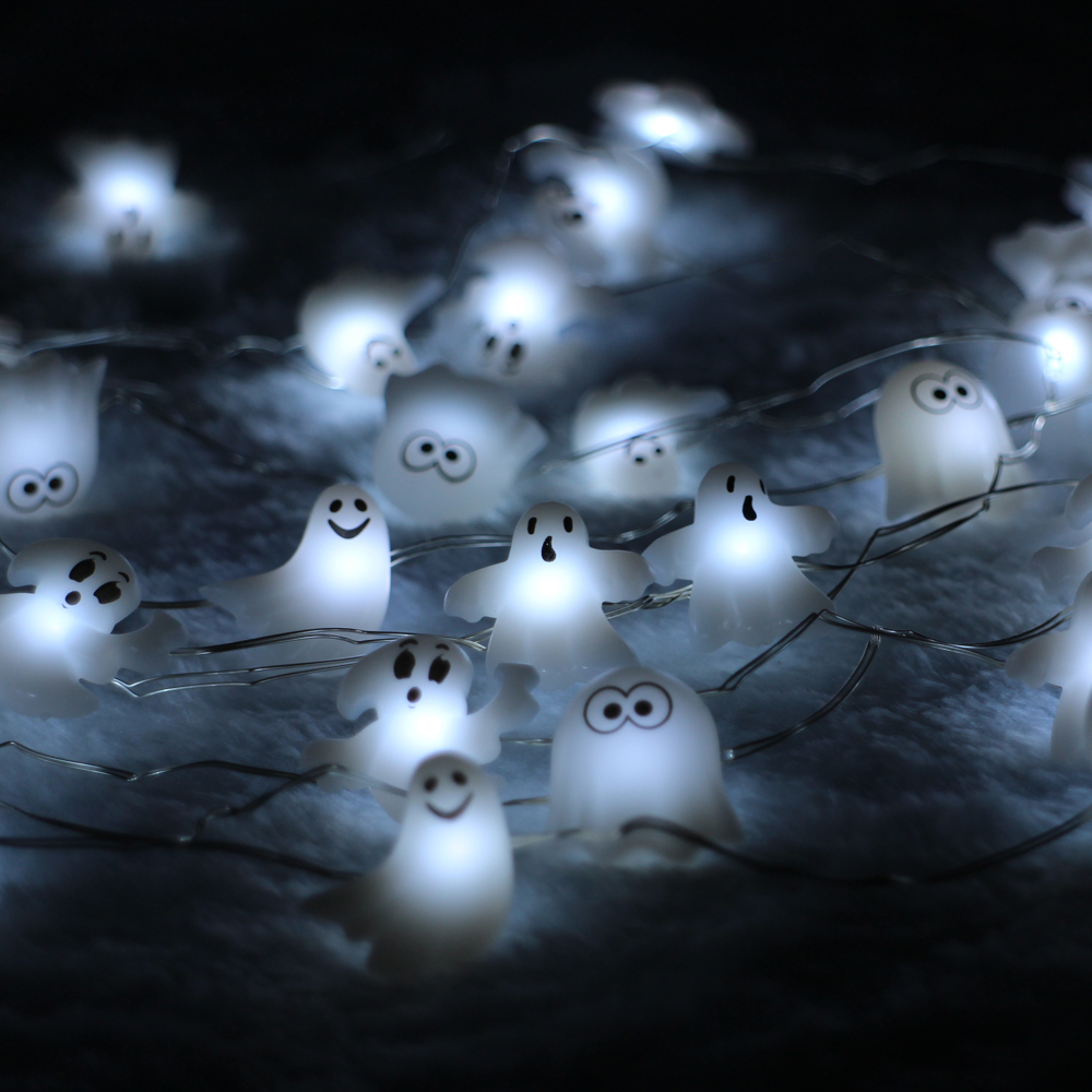 40LED 10Ft 3m Skull Ghost Led string Light Decoration Halloween Indoor&Outdoor Battery Operated ...