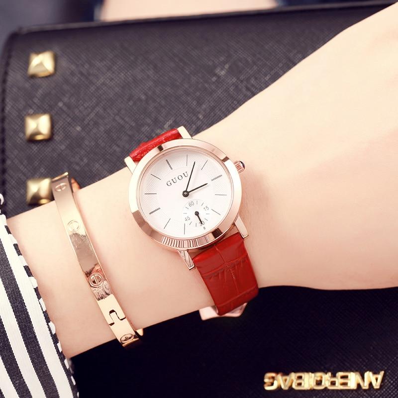 Marca de moda GUOU, mujer romántica, reloj de cuarzo, señoras, - Relojes para mujeres