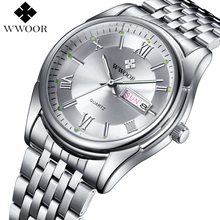 Men Watches Top Brand Luxury Day Date Luminous Hours Clock Male Silver Stainless Steel Casual Quartz Watch Men Sports Wristwatch