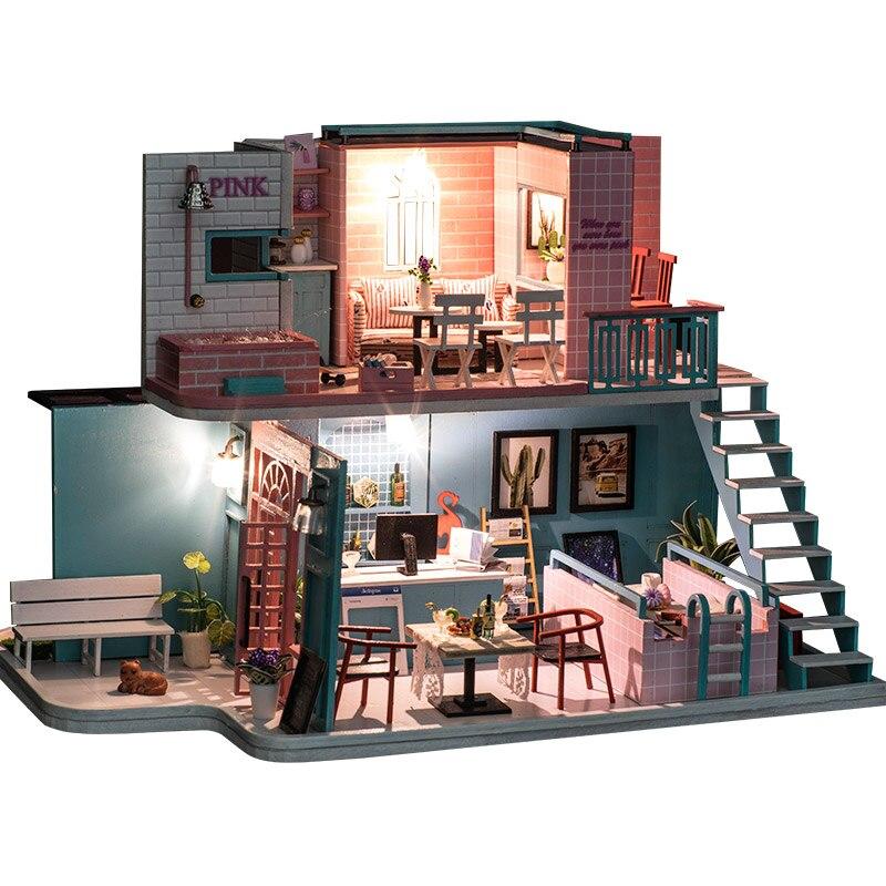 Miniature rose café Shop Loft maison de poupée meubles Kits bricolage en bois maison de poupées avec lumière LED Puzzle jouet enfants cadeau d'anniversaire