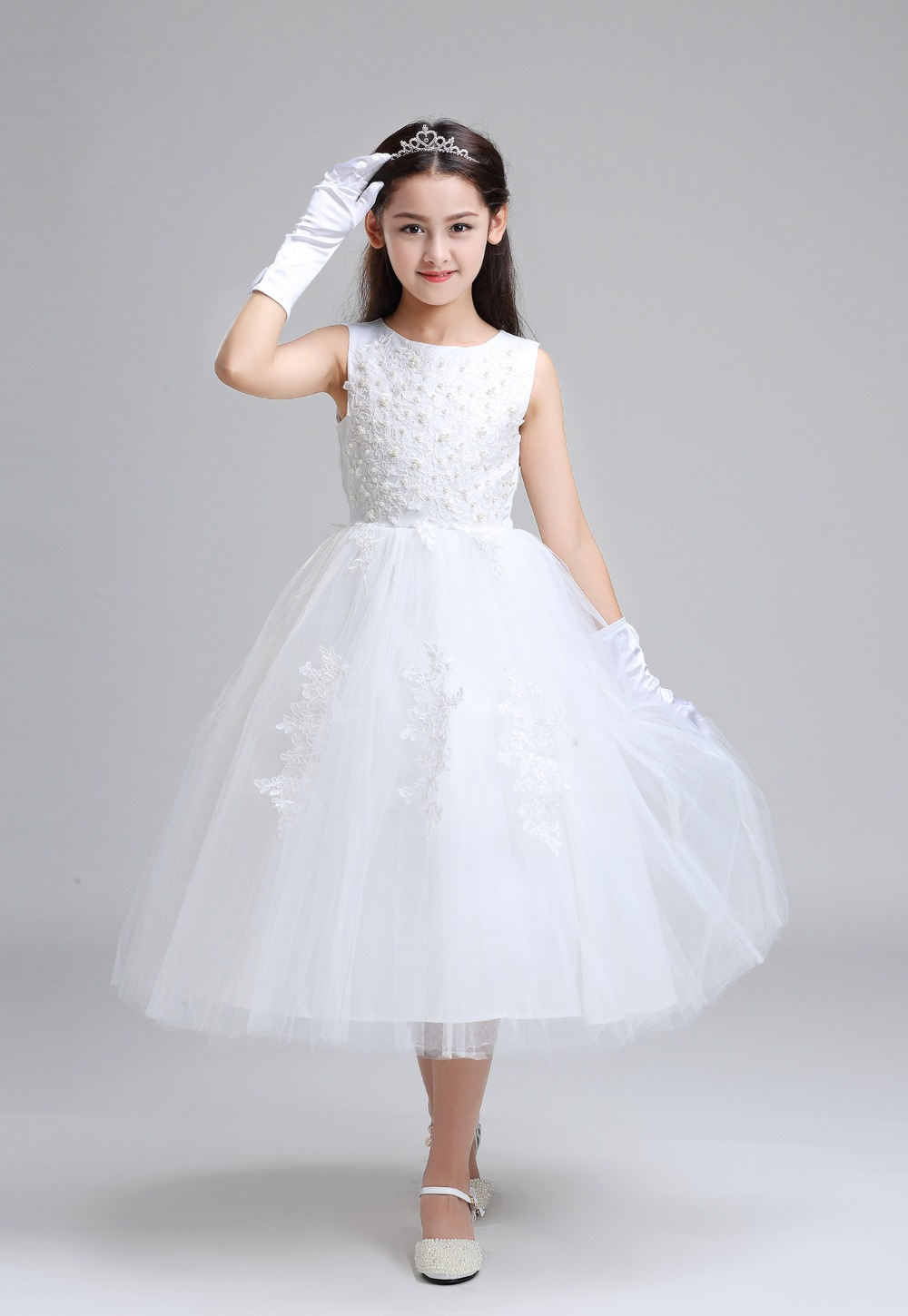 vestidos de daminha White Tulle Lace Beaded Ball Gown Ankle Length ...