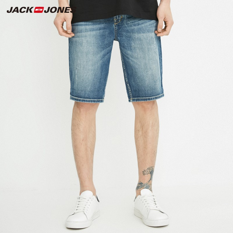 JackJones Men's Slim Fit Distressing Denim Shorts J|218243517