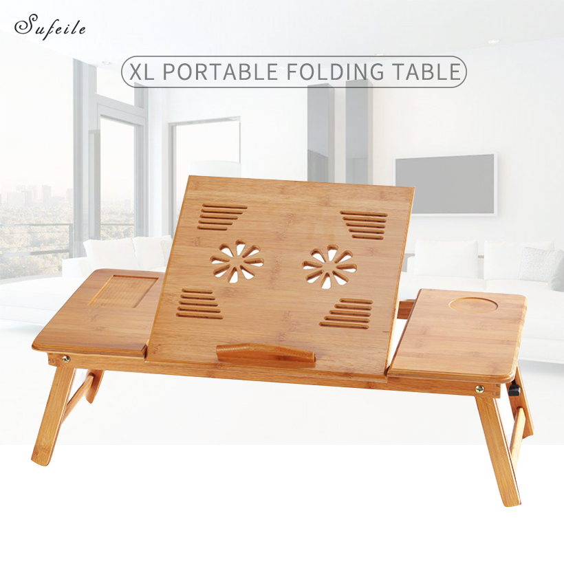 SUFEILE surdimensionné table d'ordinateur Portable pliable Portable ordinateur bureau maison simple table à manger en bois bureau Simple table d'étude