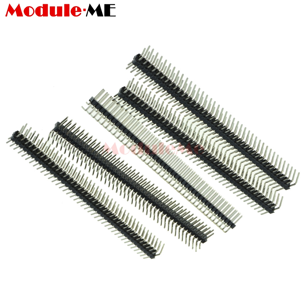 200pcs 2.54mm Pitch 1*40 Pin Straight Curve 90 Degree Header Male Female Single Row Pin Header Electronics Production Machinery