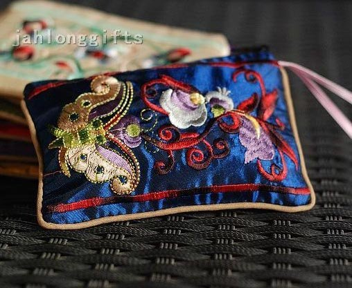 Wholesale 50 pcs Double Side Embroidered Coin Bag Holder Coin Wallet Pink Free Gift Free Shipping