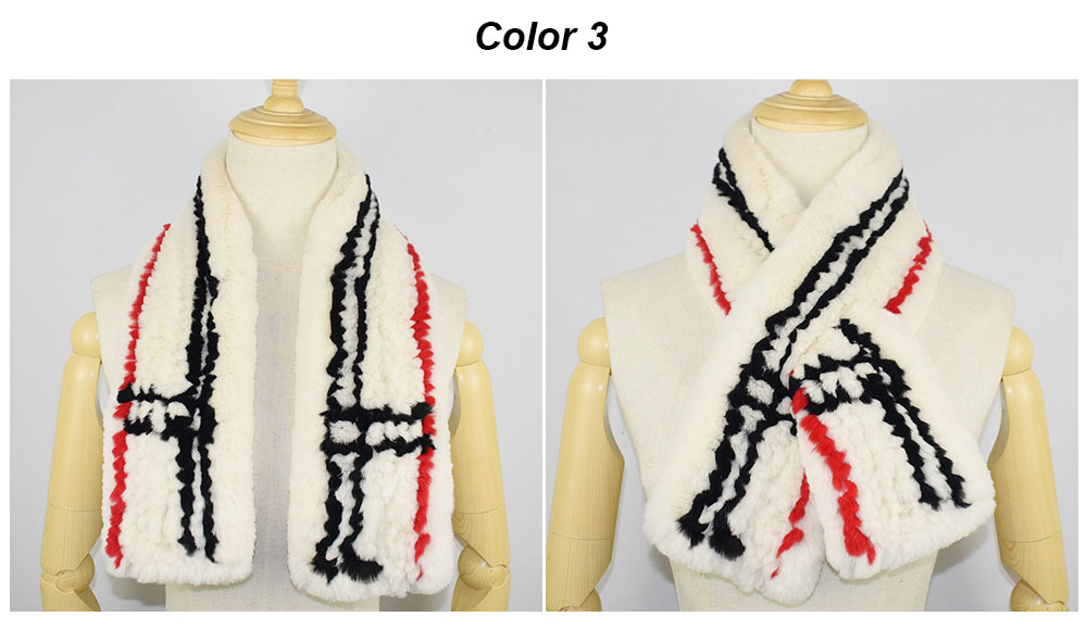 rex rabbit fur scarf plaid color 3