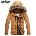 2016 nueva letskeep hombres chaqueta abrigo de invierno de nieve ocasionales capucha de piel parka hombres de la chaqueta prendas de vestir exteriores espesar abrigo plus size m-3xl, ma181