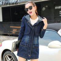 2017 Autumn Fashion Korean Version Slim Cowboy Coat Jacket Women Medium Long Was Thin Long Sleeved