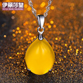 13.4mm*27mm famous brand water drop 925 Silver Natural yellow chalcedony semi-precious stones agate pendant yellow necklace