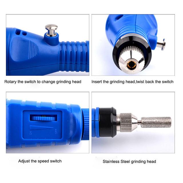 MESFEES 1*Professional Pen-shape Electric Nail Drill Bits EUROPEAN Plus Nail Polishing Head Set 6 bits Manicure Machine Bits