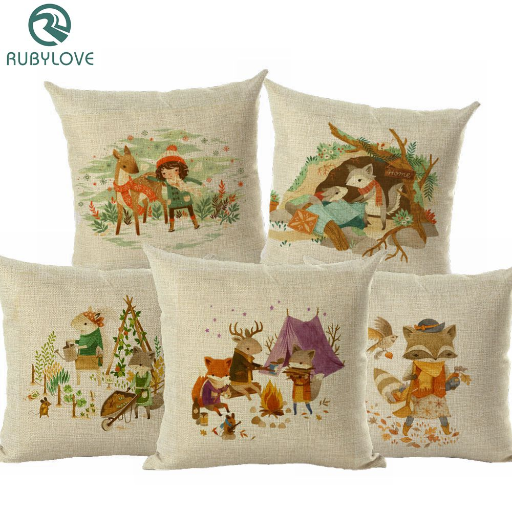 Cojines Vintage Para Sofas Rubylove Cartoon Fox Pillow Cushion Cover Home Decor Cojines Decorativos Para Sofa Vintage Cozy Cusion Cover