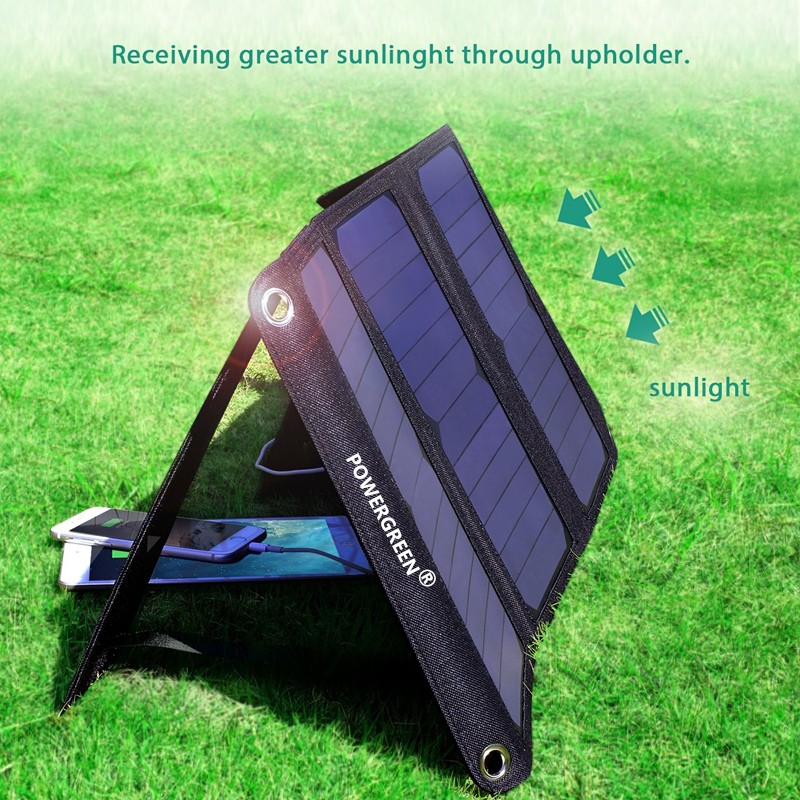 2018 New PowerGreen 21W Solar Charger Lipat Double USB Charger Solar - Aksesori dan suku cadang ponsel - Foto 5
