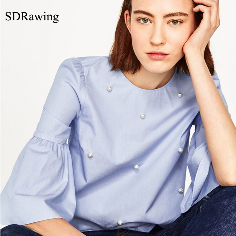 SDRawing Women Elegant Pearls Beading Flare Sleeve Shirt O Neck Blouse Three Quarter Sleeve Summer Brand